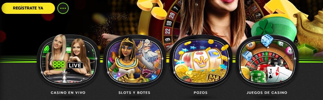 Juegos disponibles en un casino online en Chile.