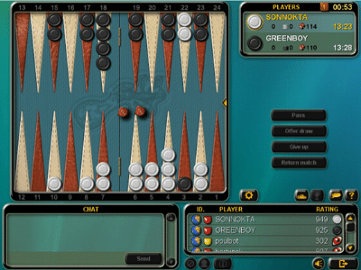 En el backgammon online dos jugadores compiten por el dominio del tablero
