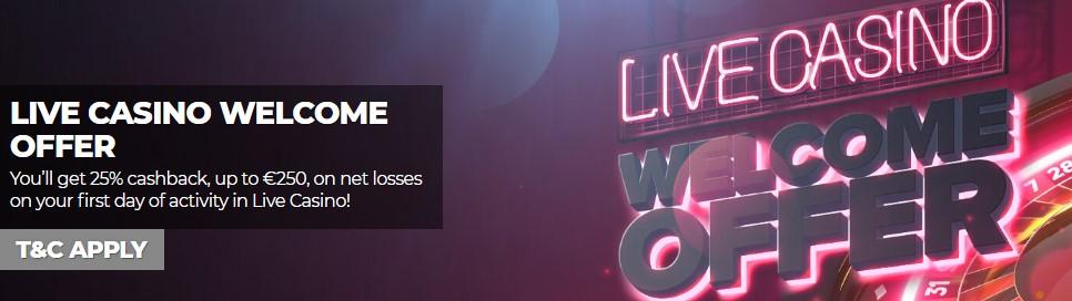 Accediendo a la opción Live Casino podrás encontrar juegos en vivo