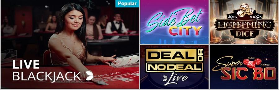 En este casino encontrarás una buena variedad de juegos de casino en vivo