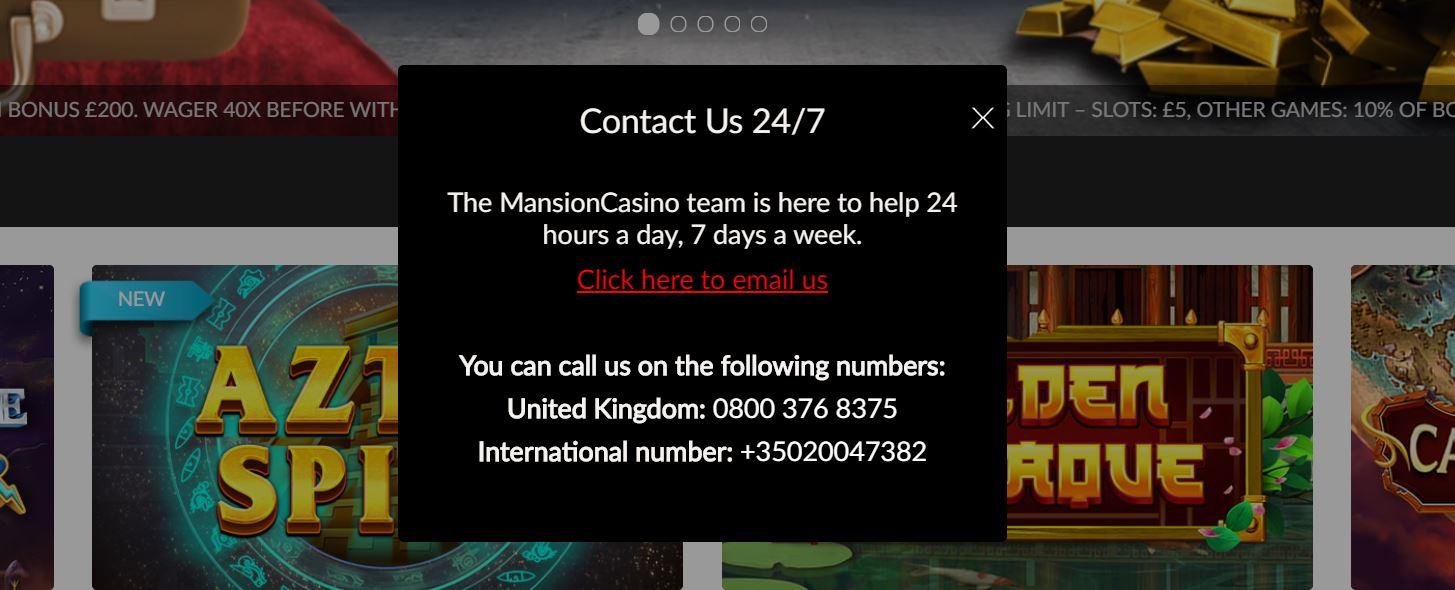 Mansion Casino tiene soporte téncico especializado.