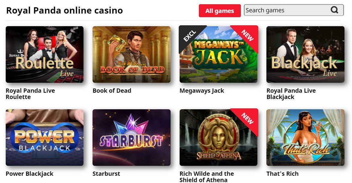 Desde slots hasta ruleta, todos los jeugos están en royal panda casino.
