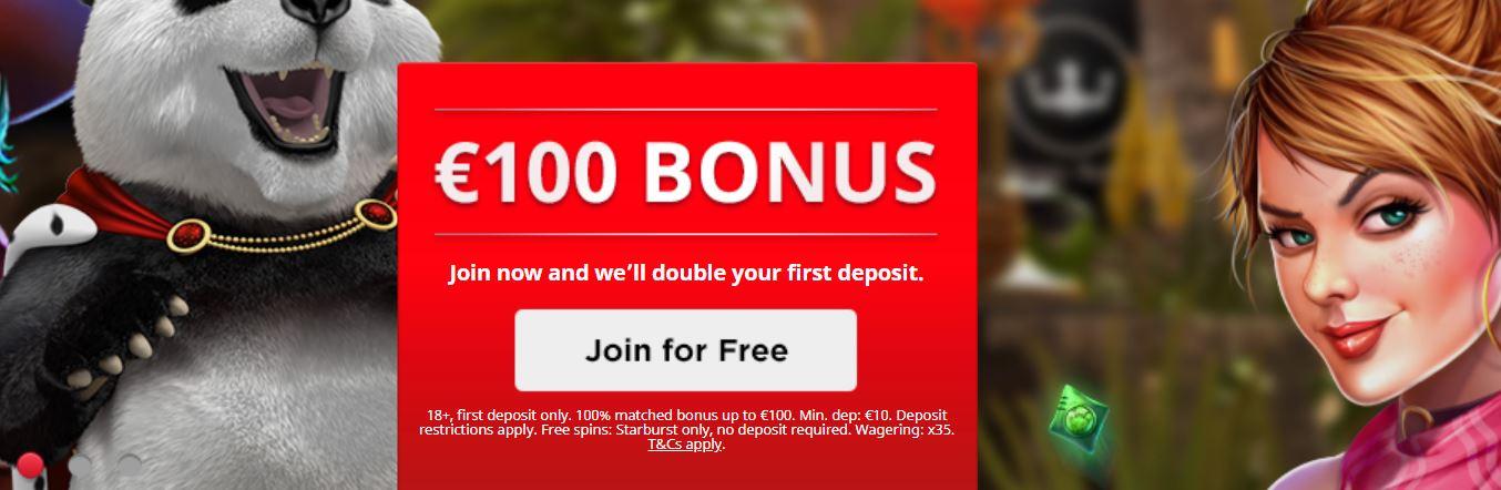 Podrás beneficiarte de un bono al crear una cuenta en royal panda casino.