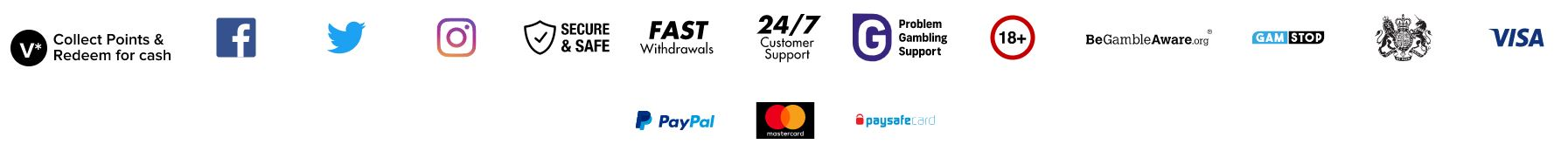 Muchos métodos de pago son aceptados en Virgin Games.