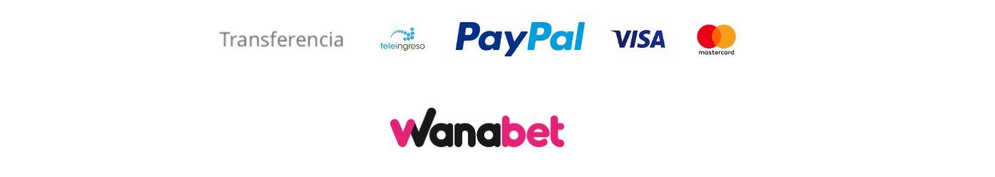 Wanabet te permite formalizar pagos con la mayoría de métodos disponibles en el mercado.