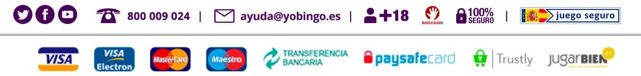 Yobingo ofrece diferentes métodos de pago a sus clientes.